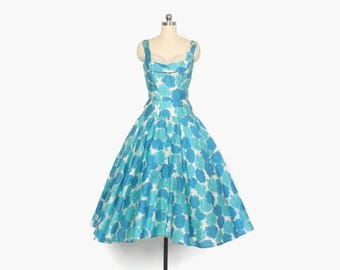 Vintage 50s Party DRESS / 1950s FLORAL Silk Full Skirt Sleeveless Shelf Bust Dress XS
