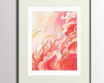 Abstract Painting, Original Abstract Watercolor Painting, Abstract Modern Art, Water Color Pink and Red Painting, Wall Art Painting