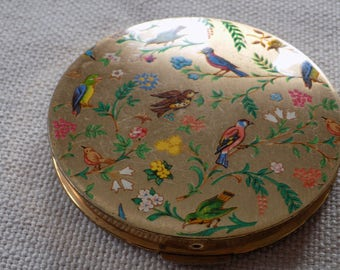 "Antique compact, STRATTON enameled birds compact, Marked ""Made in Stratton England"" compact, enameled compact, antique collectible"