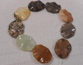 Large Multi Colored Jasper Rectangle Beads Pendents, 9 Gemstone Beads 40mm x30mm