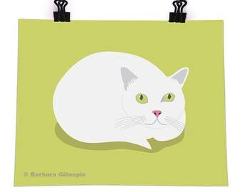 Curled Up Cat, 8x10 Poster, Vector Illustration