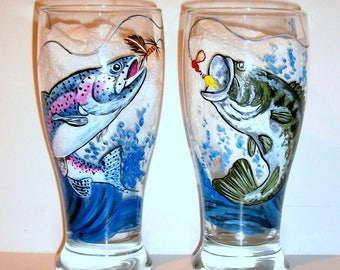 Bass & Rainbow Trout Jumping Fish Choice of 2-19 oz Beer Glasses Fathers Day Gift for Dad Hand Painted Beer Glasses Spinner Lure Fly Fishing