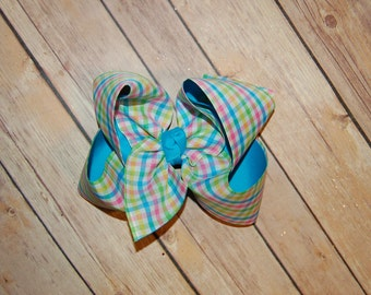 SSD Spring Gingham Hair Bow