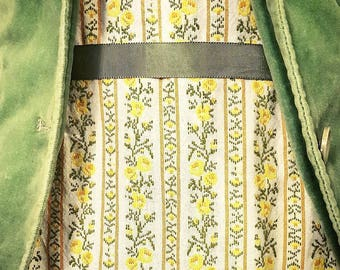 cotton vintage-inspired 'edelweiss' dress with white cotton lining, yellow side zipper, and crochet hem