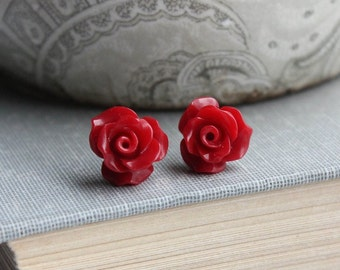 Dark Red Rose Stud Earrings Flower Earrings Tiny Rose Stud Earrings Surgical Steel Posts Nickel Free Gift for Her Stocking Stuffers