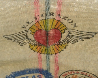 Large Colombia coffee bean BURLAP SACK El Corazon Heart with Wings  Colorful Colombian Art Graphics