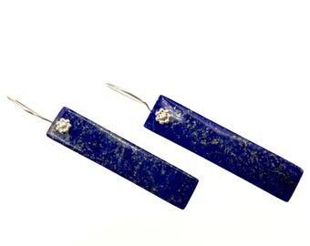 Lapis Lazuli Earrings, Gemstone Earrings, Long Rectangular Earrings, Gemstone Jewelry, Stone Earrings