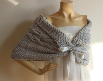 Light Gray Capelet / Wedding Wrap Shrug Bolero/Hand Knit Acrylic shawl-vegan scarf-Everyday Cape