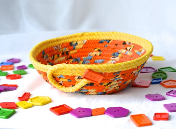 Orange Picnic Basket, Handmade Party Basket, Fun Minion Fabric Basket, Party Candy Dish, hand wrapped and coiled fabric basket