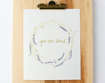 Watercolor Print | Nursery Decor | You Are Loved | Lavender