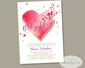 Valentine Baby Shower Invitation | Watercolor Heart, Heart and Arrow, Pink and Gold | INSTANT DOWNLOAD easy to edit text PDF