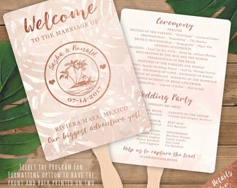Semi-DIY Program Fans  - Rose Gold and Blush Watercolor Tropical Beach Destination Wedding Passport Design