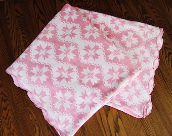 Jacquard Coverlet Or Table Cloth Pink And White Woven 74 Inches By 84 Inches Scalloped Edge