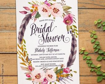 Boho Bridal Shower Invitation, Rustic Boho Chic Bohemian Spring Summer Printable Invitation