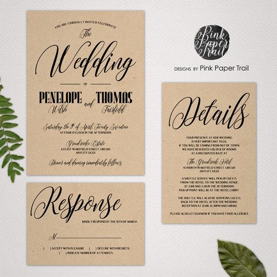 Print Your Own Wedding Invitation: Printable Wedding Invitation Suite, Kraft Invitations