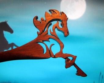Hair Stick - Running Stallion Dagger in Walnut