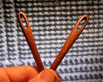Hair Stick - Sewing Needles in Mahogany