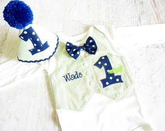 Baby Boy Alligator First Birthday Tuxedo Bodysuit Vest with Removable Bow Tie