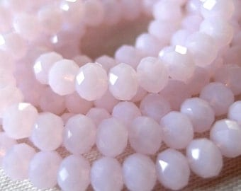 "49 pc, 6mm Candy Pink Opaque Faceted Crystal Rondelle Beads, 9"" strand"