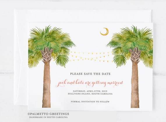 Save the Date, Wedding, Birthday, Lowcountry South Carolina, Palmetto Moon, Florida, Maui Watercolor Palm Trees with string lights