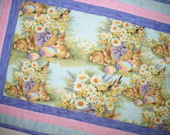 Easter Table Runner, bunnies, quilted, spring  fabric from Susan Winget