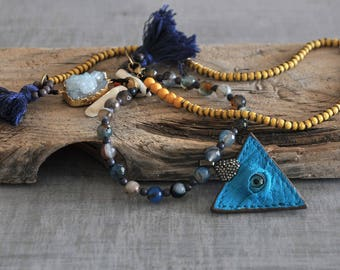Turquoise Leather Evil Eye,  Aqua Geodes Crystal,  Coral Tooth Necklace,  Boho Gemstone Necklace,  Tassel Necklace