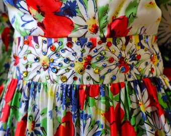 Free Shipping!: Vintage 1970s Red Green Blue Yellow Floral on White Long Sleeve Maxi Dress with Gem Embellished Waistline