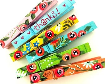 THANKS! FLOWER CLOTHESPINS  magnets hand painted pink turquoise orange yellow green