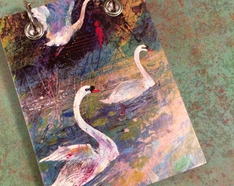 Recycled  Notebook - Swan Notebook - Upcycled Vintage Book - Large Notepad - Refillable Notepad - Bird Note Book