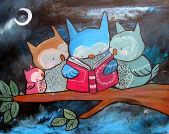 Kids Wall Art Print 8x10 Nursery Decor Woodland Reading Owls Book Lover Cute Artwork Baby Room Whimsical Children's Decoration Storybook
