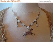 15% Off Vintage Sterling Silver Rainbow Moonstone Link Necklace w/ Horse Pendant