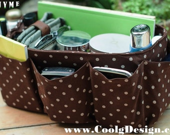 Large Purse Organizer insert Bag in Bag / Brown polka Dots / Large 25x10cm
