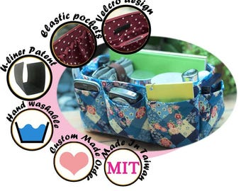 Purse Organizer Insert Perfect for unstructured bags / Extra Sturdy, Blue Floral / Large 25x10cm