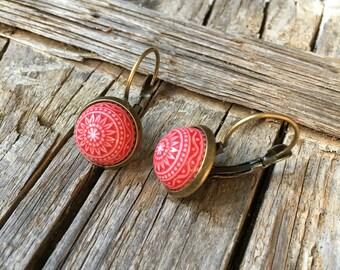 Red Mosaic Earrings. Red cabochon earrings. Mosaic cabochon earrings. Scandinavian earrings. Urban earrings. Folk earrings