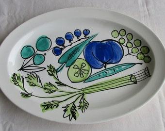 Vera Neumann Meat Platter in Salad Days Pattern – Vera Neumann Ladybug Back Mark – 9.5 X 13 inches – Hand Painted - 1966 – Beautiful – DK3F