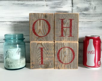 OHIO wood blocks, ohio state, reclaimed wood, ohio home decor, gray and red