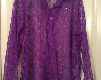 Lace big shirt blouse plus sz top long slv sheer button front 80s new