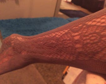 Stockings lace/Fishnet gray stretchy! elastic top one size fits most
