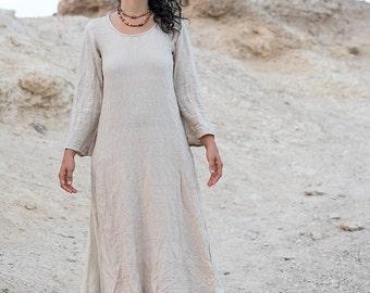 Organic Cotton Long Sleeve Dress ~ Earthy Natural Color ~