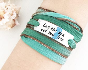 Let The Sea Set You Free, Sea Bracelet, Sea Lover, Beach Bracelet, Silk Wrap Bracelet, Boho Bracelet, Beach Boho, Coastal Jewelry