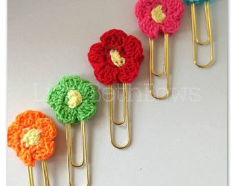 Bright Flowers Planner Clip set of 5, bookmarks, planner flower clips, crocheted bookmarks, little flower clip set, mini clips