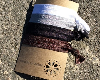 knotted elastic hair tie set - basics - white, gray, black, brown