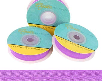 """Lilac - Fold Over Elastic - Solid FOE - 5/8"""" Wide - 5 Yards Wholesale"""