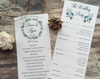 Rustic Wedding Program, Floral Wedding Program, Floral Wreath Wedding Program, Country Wedding Program, Rustic Floral Wedding Program