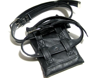 GARTER BAG Thigh Pouch Garter Holster in Black and Gunmetal
