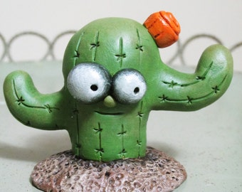 Cactus Cacti character clay sculpted and painted Pumpkinseeds originals folk art by Janell Berryman