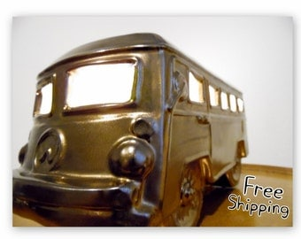 Bronze VW Volkswagon Bus Ceramic Accent Lamp Night Light- On-Of-A-Kind!