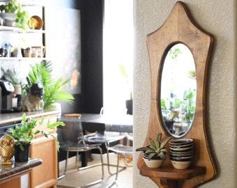 large vintage wooden bohemian wall hanging mirror planter / wall shelf