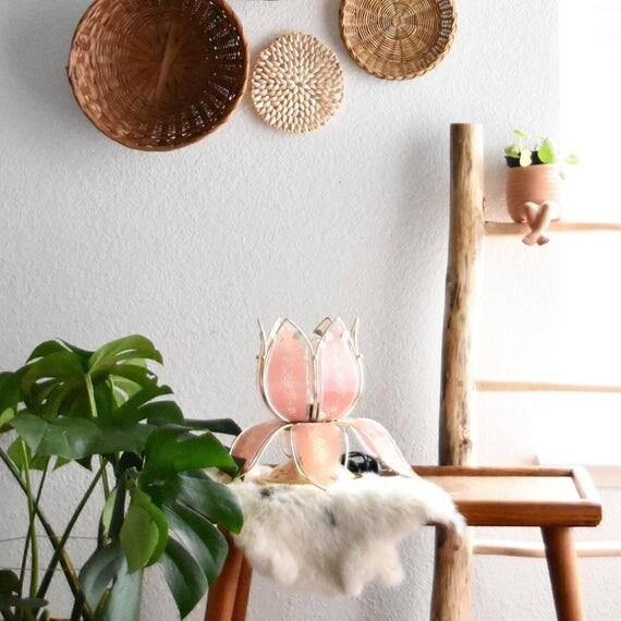 vintage pink glass gold metal lotus flower table lamp
