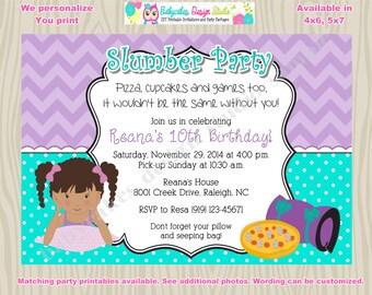 Sleepover Invitation invite Slumber Party Pajama Party invitation birthday invitation printable diy Digital African American